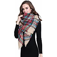 Buttons and Pleats Women Plaid Blanket Shawl Scarf for Fashion Wear & Winter