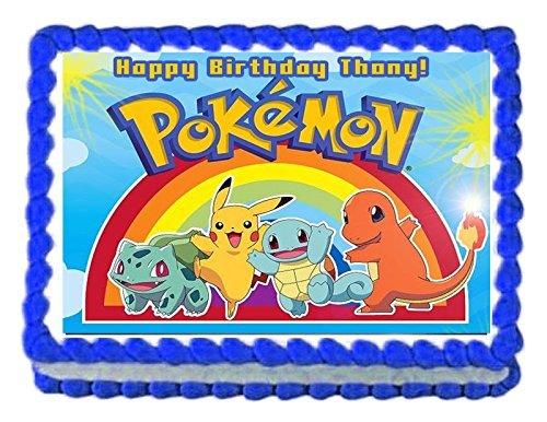 Pokemon Pikachu Birthday Party Edible image/Cake Topper 1/4 sheet Frosting -