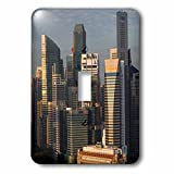 3dRose Danita Delimont - Cities - Singapore, elevated skyline view above Fullerton Hotel, dawn - Light Switch Covers - single toggle switch (lsp_257279_1)