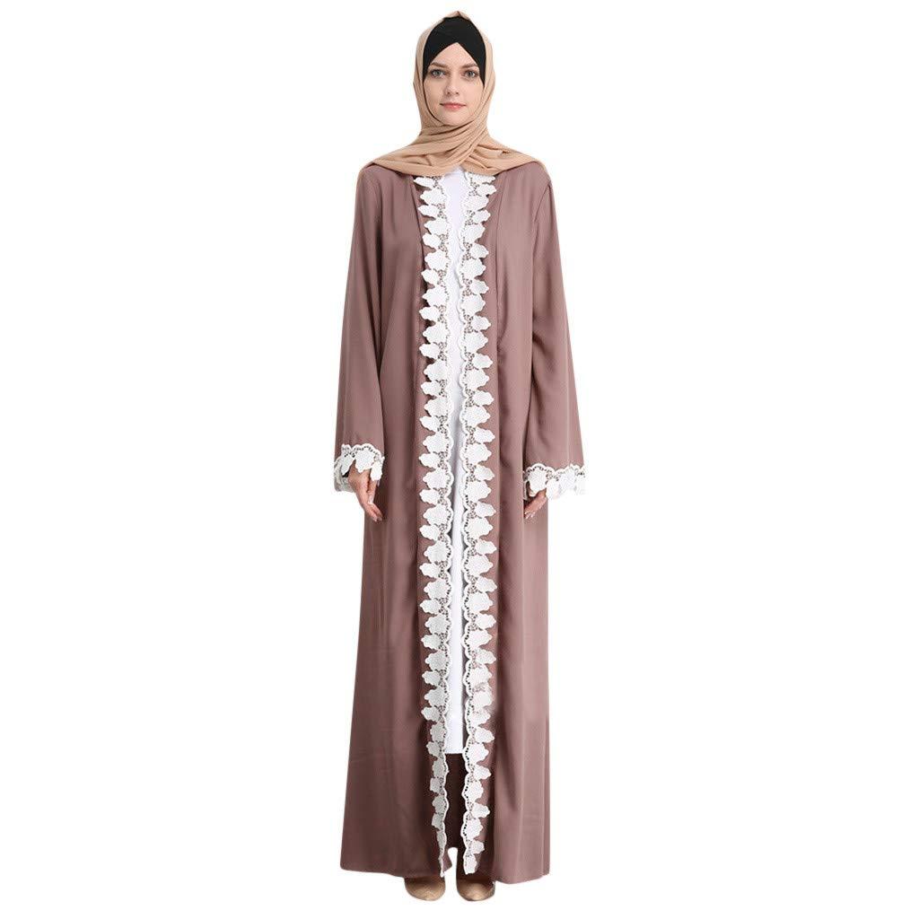 Leisuraly Woman Muslim Lace Dress Sequin Cardigan Maxi Dress Kimono Open Abaya Robe Kaftan Dubai Dress Brown