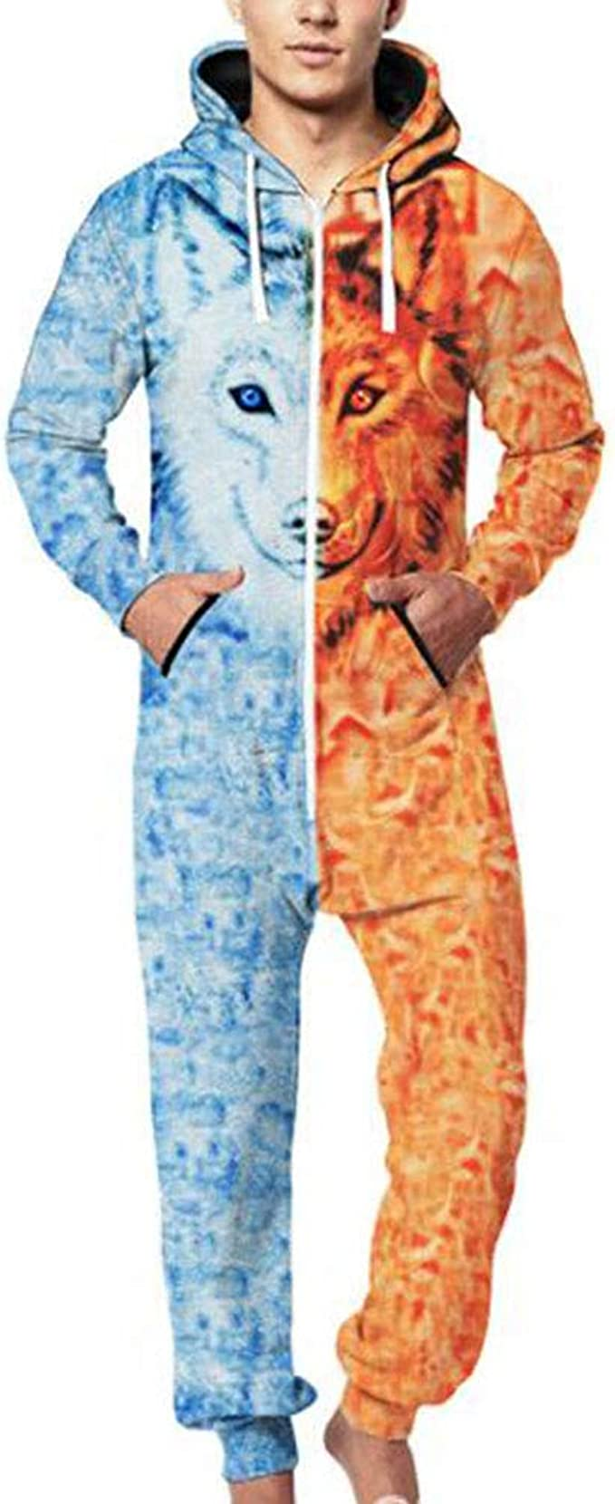 Kewing Hombres Cálido Invierno Una Pieza 3D con Capucha Mono Cremallera Pijamas De Ropa De Dormir: Amazon.es: Ropa y accesorios