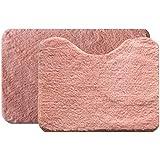 Jogo de Tapetes Microfibra para Banheiro 2 Peças Soft Color Bella Casa Salmão