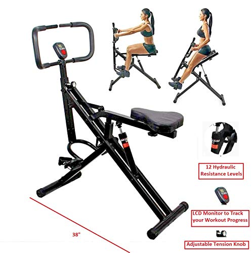 TOTAL CRUNCH Power Rider Ab Core Squat Glute Exercise Workout Machine Abdominal Crunch Cardio Trainer Horse Rider Home Gym w Monitor