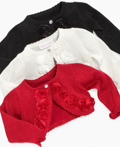 Bonnie Jean Baby 3M-24M Rosette Trim Metallic Knit Sweater/Shrug