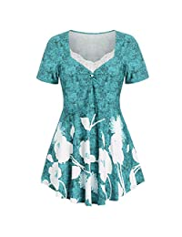 STORTO Womens Tops Plus Size Floral Blouse Printed O-Neck Lace Short Sleeve T-Shirts Tops