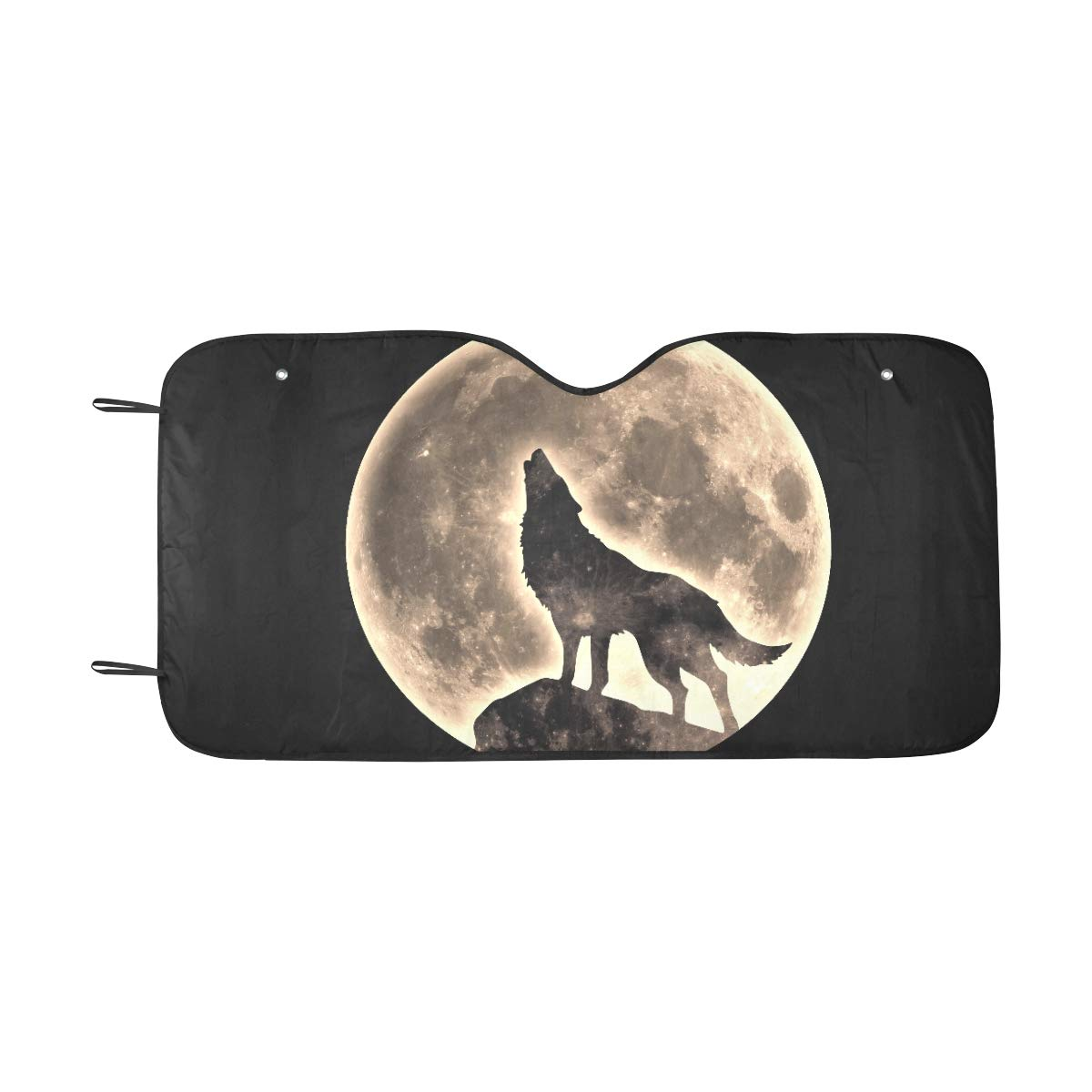 Plosds Car Sun Shade Windshield Foldable Wild Howling Scared Moon Night Wolf Sun Visor Universal Fit Keep Car Vehicle Cool Heat Reflector Sedans Suv Truck 55x30 Covers For Car Windshield