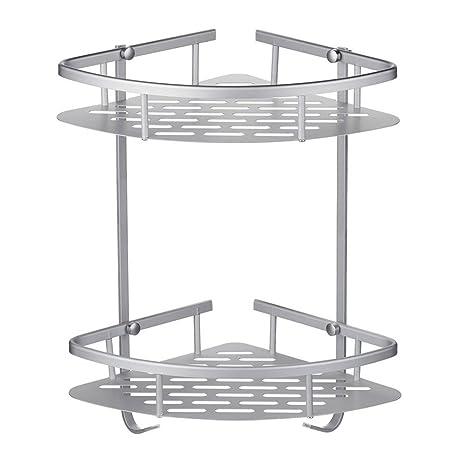 Estantería esquinera de 2 niveles de aleación de aluminio inoxidable para ducha