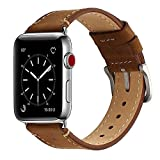 Electronics : Mkeke Compatible with Apple Watch Band 38mm Genuine Leather iWatch Bands Vintage Coffee
