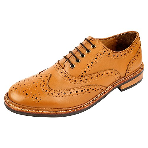 DLT Men's Genuine Imported Leather with Rubber Sole Goodyear Welted Oxford Dress Shoes 12 Tan -