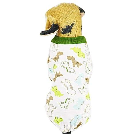 Ropa para Perros Gatos Pijamas de Perro Suave Algodón Estampado Floral Puppy Rompers Mono de Mascota