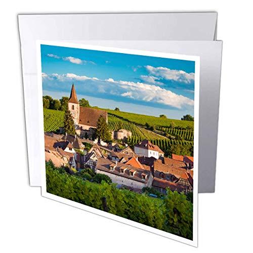 3dRose Danita Delimont - France - Town of Hunawihr Along The Wine Route, Alsace Haut-Rhin, France - 12 Greeting Cards with envelopes (gc_313108_2)