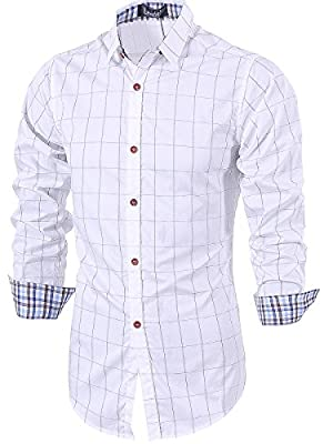 Lende Men's  Long Sleeve Plaid Slim Fit Button Down Dress Shirt