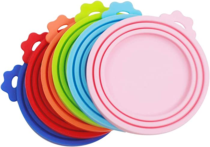 Yobbai 6 pack Pet Food Can Lids, Food Safe BPA Free & Dishwasher Safe, Can Covers Most Standard Size Dog and Cat Can Tops