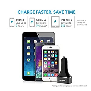 Anker 48W 4-Port USB Car Charger, PowerDrive 4 for iPhone X/8/7/6s/Plus, iPad Pro/Air 2/mini, Galaxy S7/S6/Edge/Plus, Note 5/4, LG, Nexus, HTC and More