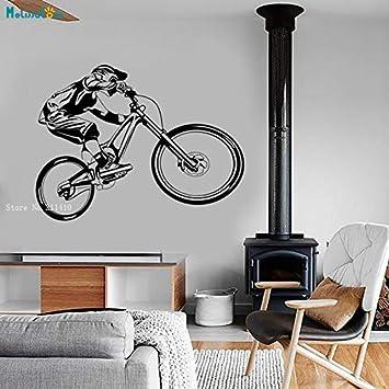 Bicicleta De Montaña Deportes Extremos Pared Vinilo Calcomanía Ciclismo Bmx Bicicleta Motocross Moderno Garaje Decoración Para El Hogar Murales Extraíbles Yt 75X56Cm: Amazon.es: Bricolaje y herramientas