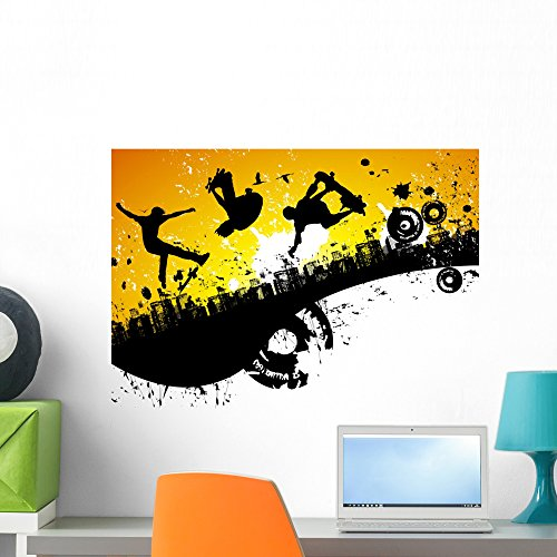 Wallmonkeys Skateboard City Wall Mural Peel and Stick Graphic (24 in W x 17 in H) WM238899 Skateboard Wall Murals