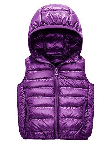 Kids Puffer Down Vest, Ultralight Hooded Sleeveless Jacket Waistcoat for Toddler Boys Girls Outwear(4-6Y, Purple)