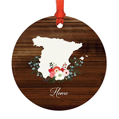 Andaz Press US State Round Metal Christmas Ornament, Rustic Wood with Florals Home, Spain, 1-Pack, Includes Ribbon and Gift Bag by Andaz Press