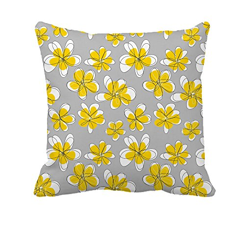 Yellow Doodle Floral Pillow Polyester product image