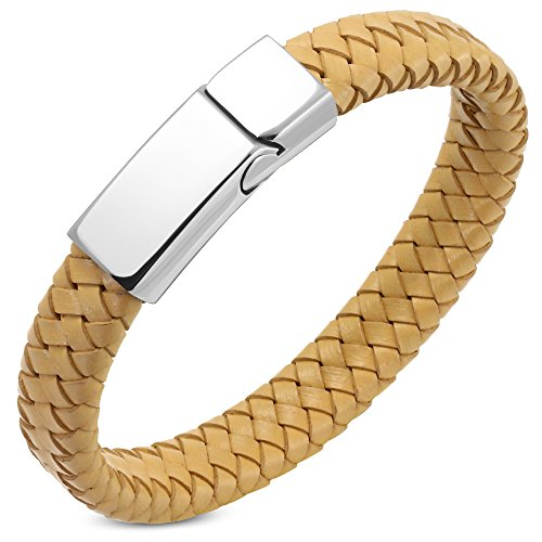 My Daily Styles Stainless Steel Light Brown Leather Silver-Tone Mens Braided Bracelet ()