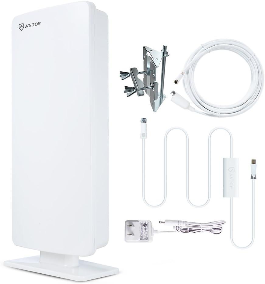 Antop Flat Panel Antena de TV digital interior/exterior con Smartpass amplificada y integrado 4 G LTE filter-80 millas largo alcance recepción ...