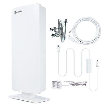 Antop Flat Panel Antena de TV digital interior/exterior con Smartpass amplificada y integrado 4