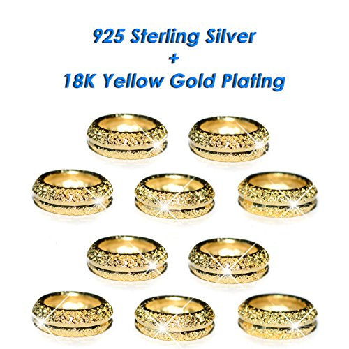 Yellow Gold Spacers (LOT 10, Sterling Silver Ring Spacer Style Beads Yellow Gold Plated Fits 3mm Charm Snake Chain Cable Bracelets)