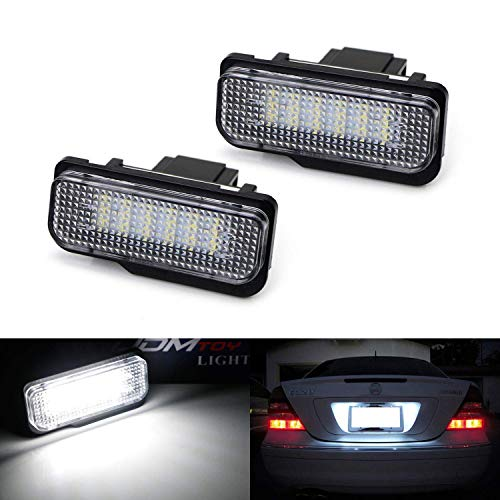 iJDMTOY OEM-Fit 3W Full LED License Plate Light Kit Compatible With Mercedes-Benz C E CLS Class, Powered by 18-SMD Xenon White LED & Can-bus Error Free