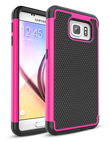 Galaxy S6 Case,TILL [Protective Buffer] Shock Absorbing Dual Layer Hybrid Rubber Plastic Impact Defender Rugged Slim Hard Case Cover Shell For Samsung Galaxy S6 S VI G9200 GS6 All Carriers [Hot Pink]