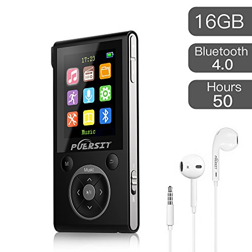 (PUERSIT 16GB MP3 Player with Bluetooth, Portable Music Player FM Radio Voice Recorder HiFi Lossless Sound for Sports 50 Hours Playback and Expandable Up to 128GB TF Card(Black Sliver).)