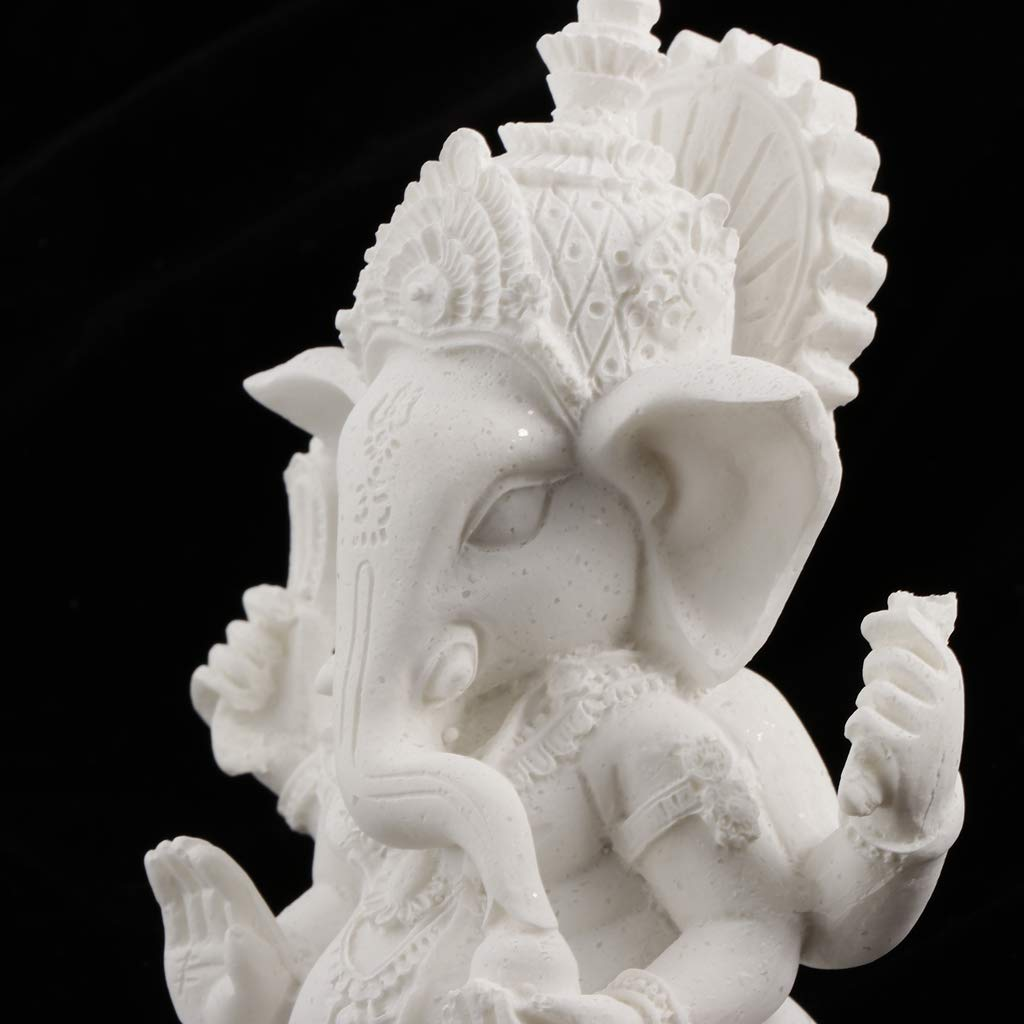 Beige 12cm FLAMEER Ornement de Ganesh Assis Figurine Hindoue en Ganesh Maison Bureau D/écor