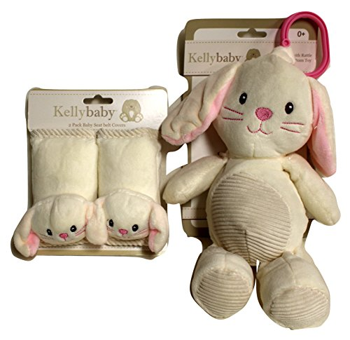 Babies can travel in comfort with these Seat Belt Covers with Matching Rattle Pram Toy (Cream Bunny) (These Seat)
