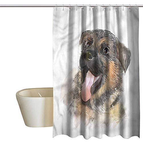 (RenteriaDecor Shower Curtains for Bathroom African American Women German Shepherd,Happy Expression,W48 x L84,Shower Curtain for clawfoot)