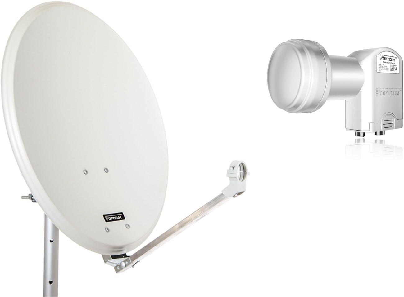 Opticum Stahl QA60 - Antena parabólica con LNB Dual, 60 cm de Color Verde Claro