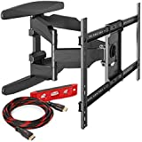 "Heavy-Duty Full Motion TV Wall Mount - Articulating Swivel Bracket Fits Flat Screen Televisions from 42"" to 70"" (VESA 400 x 600 Compatible) – Tilt Swing Out Arm with 10 HDMI Cable"