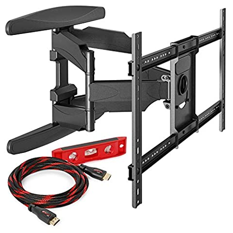 Mount Factory Full Motion Articulating Wall Mount for 40-Inch to 70-Inch TV with HDMI Cable - Range Hinge