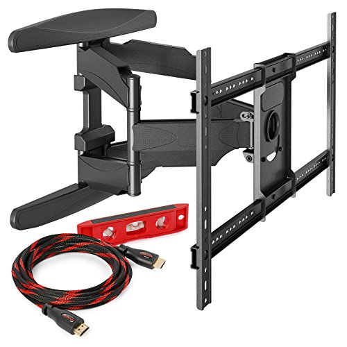 "Heavy-Duty Full Motion TV Wall Mount – Articulating Swivel Bracket Fits Flat Screen Televisions from 42"" to 70"" (VESA 400 x 600 Compatible) – Tilt Swing Out Arm with 10′ HDMI Cable"