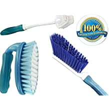 Scrub Brush Set 3 Piece Household Cleaning Supplies: Stiff Bristle Brushes,Carpet Kitchen,Bathroom.Clean the Bathtub Shower Sinkware Dishes Water Bottle Scrubbing Grout Tile Remove Urine Pet Stains Odor