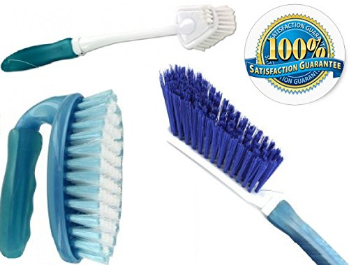 Scrub Brush Set 3 Piece Household Cleaning Supplies: Stiff Bristle Brushes,Carpet Kitchen,Bathroom.Clean the Bathtub