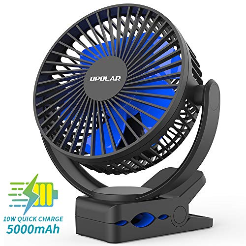 OPOLAR 2019 New 5000mAh Rechargeable Battery Operated Clip On Fan, Upgrade Quieter & Stronger Wind, 10W Fast Charge, Strong Clamp Personal Portable Fan for Golf Cart, Office Desk, Stroller, Treadmill