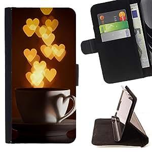 LOVE HEARTS CUP COFFEE I GOLD LIGHTS/ Personalizada del estilo del dise???¡Ào de la PU Caso de encargo del cuero del tir????n del soporte d - Cao - For Samsung Galaxy S4 IV I9500