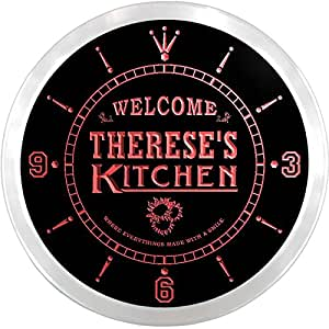 ncps0583-r Therese's Welcome Kitchen Beer Bar Home Light Neon Sign LED Wall Clock