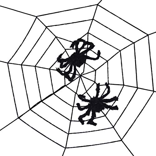 Topbuti 8.2 ft Fake Spider Web with 2 Black Spiders, Halloween Decorative Props for Halloween Outdoor Yard Haunted House -