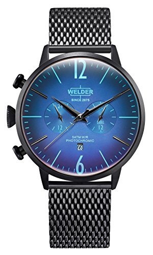 Welder Moody Stainless Steel Black Mesh Dual Time Watch with Date 45mm