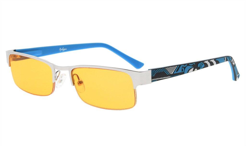 Eyekepper Computer Gaming Reading Glasses with Optical Frame and UV400 Reduces Eyestrain-96.9% Blue Light Blocking Orange Tinted Small Lens-Sleep Better Readers Men Women(Silver/Blue, 1.75)