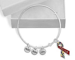 Autism Awareness Red Ribbon Retractable Charm Bangle Bracelet