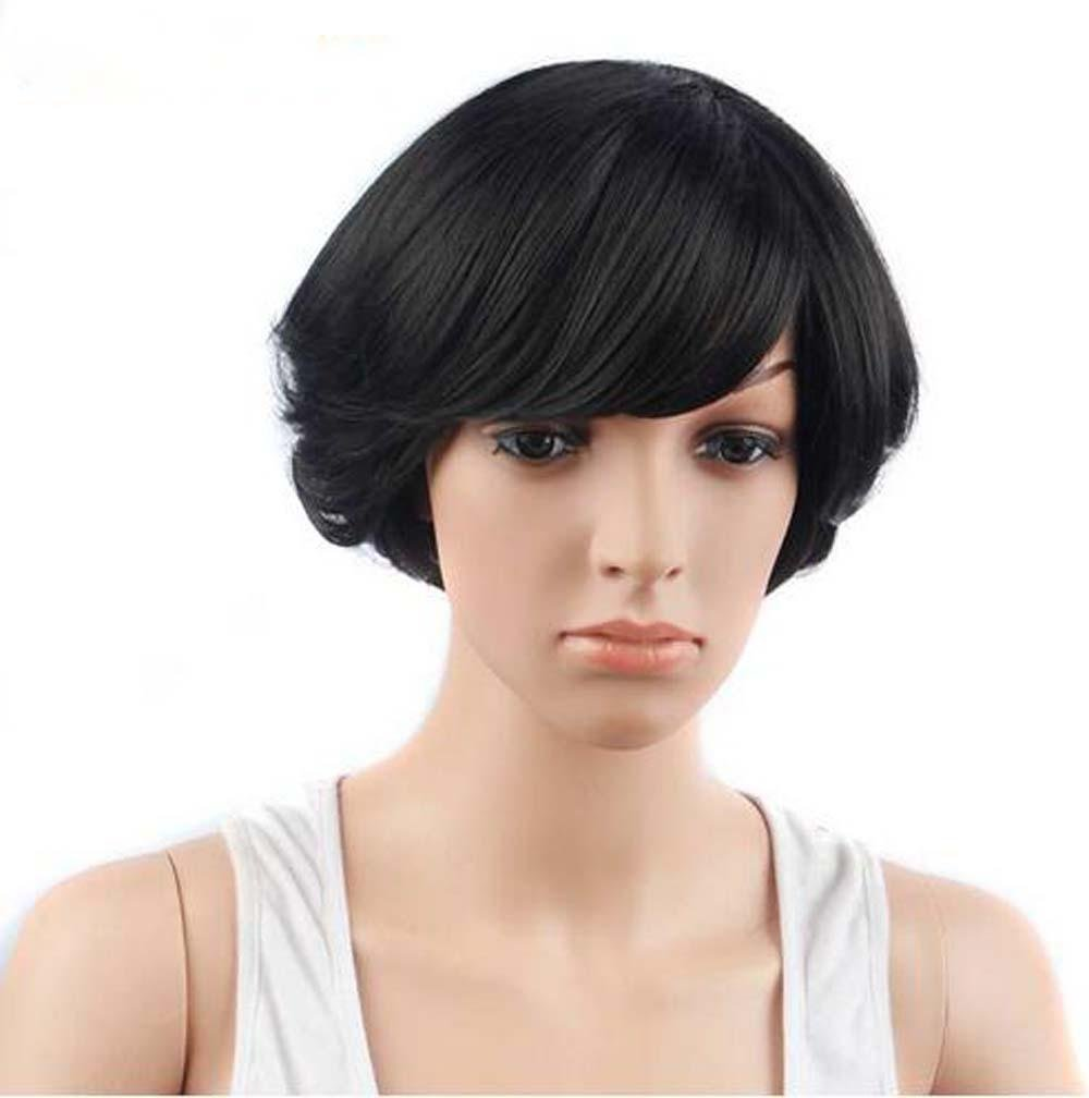 Amazon.com  Pin De HAIR Synthetic Black Short Wigs For Women Pixie Curly  Heat Resistant Hair Cut With Bangs Hairstyle  Sports   Outdoors 0f02ceb89