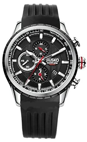 Jiusko Men's Analog Quartz Tachymeter Chronograph Sport Wrist Watch - Sapphire - 100m - Black Dial - Black Rubber Strap - Date - - Chronograph Synthetic Sapphire