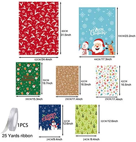 7 PCS Christmas Treat Bags Assorted Sizes with 25 Yards Ribbon, Stand-up Plastic Xmas Gift Bags with Ribbon for Big & Small Gifts on Festival Party