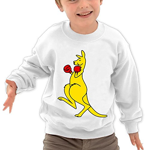 Price comparison product image Puppylol Kangaroo Boxer Kids Classic Crew-neck Pullover Hoodie White 4 Toddler